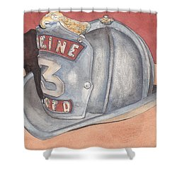 Rondo's Fire Helmet Shower Curtain by Ken Powers