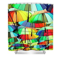 Roof Made From Colorful Umbrellas Shower Curtain