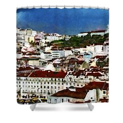 Shower Curtain featuring the photograph Roofs Of Lisbon by Dariusz Gudowicz