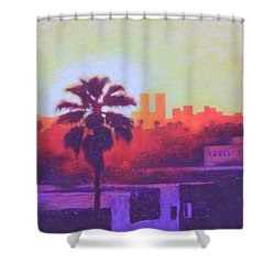 Shower Curtain featuring the painting Rooftop Glow by Andrew Danielsen
