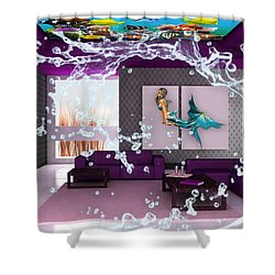 Rooftop Saltwater Fish Tank Art Shower Curtain by Marvin Blaine