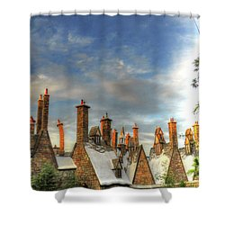 Shower Curtain featuring the photograph rooftops Hogsmeade by Tom Prendergast