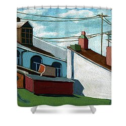 Shower Curtain featuring the painting Rooftops by Linda Apple