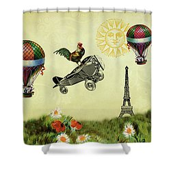Rooster Flying High Shower Curtain