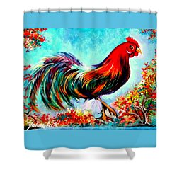 Shower Curtain featuring the painting Rooster/gallito by Yolanda Rodriguez