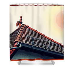 Rooster On The Roof Shower Curtain
