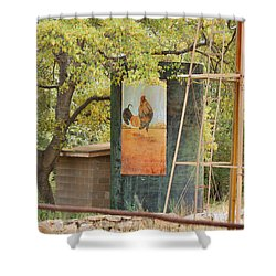 Rooster Water Tank Shower Curtain by Donna Greene