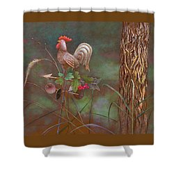 Shower Curtain featuring the painting Rooster Weather Vane In Garden by Nancy Lee Moran