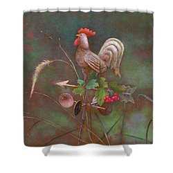 Shower Curtain featuring the painting Rooster Weather Vane In Square Format by Nancy Lee Moran