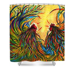 Roosters Frienship Shower Curtain by Fanny Diaz