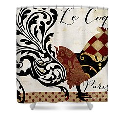Roosters Of Paris II Shower Curtain by Mindy Sommers