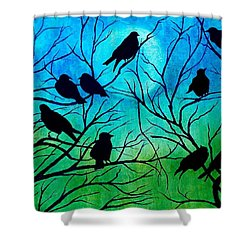 Shower Curtain featuring the painting Roosting Birds by Susan DeLain