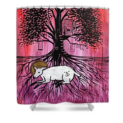 Shower Curtain featuring the painting Rooted In Him by Nathan Rhoads