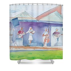 Roots Retreat Bluegrass Shower Curtain by David Sockrider