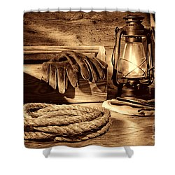 Rope And Tools In A Barn Shower Curtain by American West Legend By Olivier Le Queinec