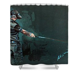 Rory Mcilroy Trick Shot 2010 Shower Curtain by Mark Robinson
