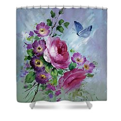 Rose And Butterfly Shower Curtain by David Jansen