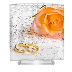 Rose And Two Rings Over Handwritten Letter Shower Curtain by Ulrich Schade