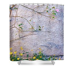 Shower Curtain featuring the photograph Rose And Yellow Flowers by Silvia Ganora