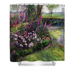 Rose Bed And Geese Shower Curtain by Timothy Easton
