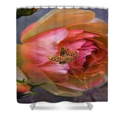Rose Buttefly Shower Curtain