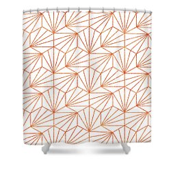 Rose Gold And White Shower Curtain