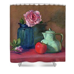 Rose In Blue Jar Shower Curtain by Vikki Bouffard