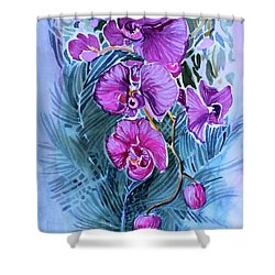 Rose Orchids Shower Curtain by Mindy Newman