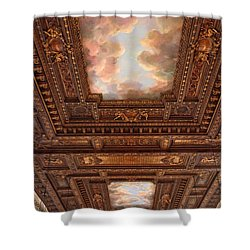 Shower Curtain featuring the photograph Rose Reading Room Ceiling by Jessica Jenney