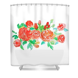 Rose Watercolor Shower Curtain by Rasirote Buakeeree