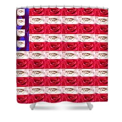 Rose White And Blue Shower Curtain by Anne Cameron Cutri