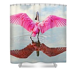 Roseate Spoonbill Pink Angel Shower Curtain