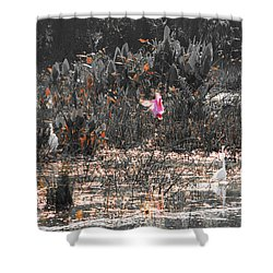 Roseate Spoonbill Select Color Shower Curtain by Ken Figurski