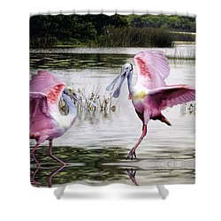 Shower Curtain featuring the photograph Roseate Spoonbills Sparring. by Brian Tarr
