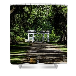 Shower Curtain featuring the photograph Rosedown Plantation Main Gate by Ken Frischkorn