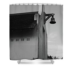 Rosemary Beach Post Office In Black And White Shower Curtain