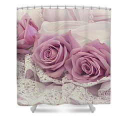 Roses And Beaded Lace Shower Curtain by Sandra Foster