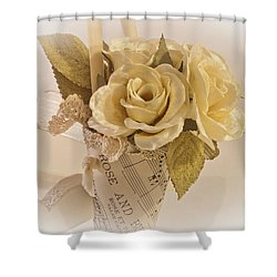 Roses And Butterfly Posy  Shower Curtain by Sandra Foster
