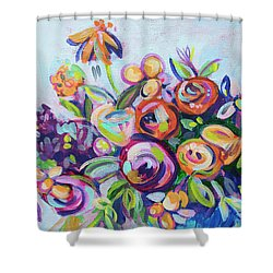 Roses And Kumquats Shower Curtain by Kristin Whitney