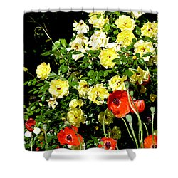 Roses And Poppies Shower Curtain by Teresa Mucha
