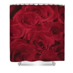 Shower Curtain featuring the painting Roses Are Love by The Art Of Marilyn Ridoutt-Greene