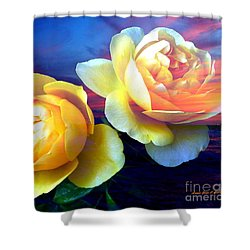 Roses Basking In A Ocean Sunset Shower Curtain