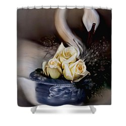 Shower Curtain featuring the painting roses for Susan by Bonnie Willis