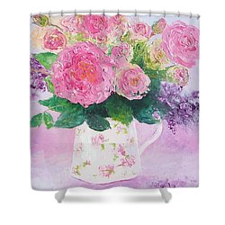 Roses In A Pink Floral Jug Shower Curtain
