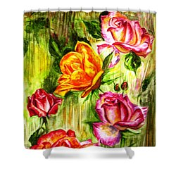 Shower Curtain featuring the painting Roses In The Valley  by Harsh Malik