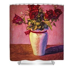 Shower Curtain featuring the photograph Roses In Vase  ... by Chuck Caramella