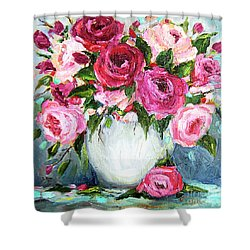Roses In Vase Shower Curtain