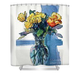 Roses In Vase Still Life I Shower Curtain by Kathy Braud