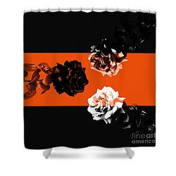 Roses Interact With Orange Shower Curtain