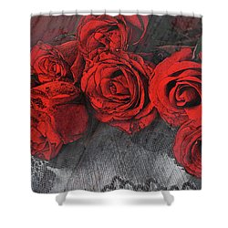Shower Curtain featuring the photograph Roses On Lace by Bonnie Willis